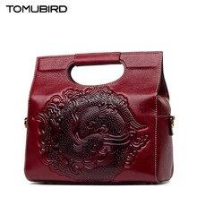 TOMUBIRD New Superior cowhide leather Designer Inspired Tote Shoulder Bags Embossing flowers Handmade Leather Handbags