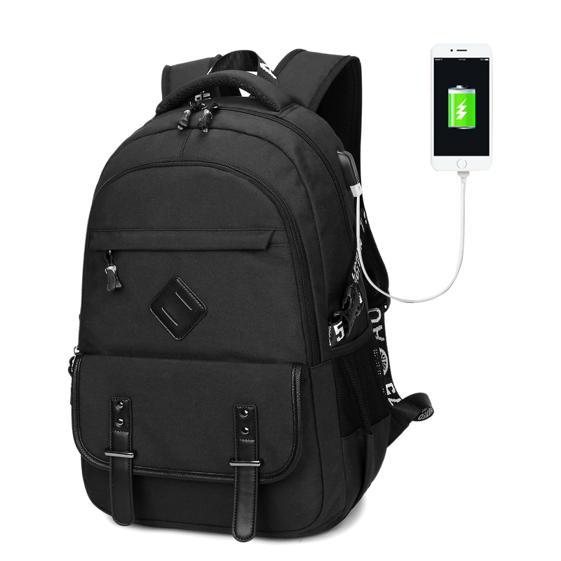 OCEHNUU 배낭 노트북 배낭 노트북 15.6 USB 충전 배낭 남성 여행용 학교 가방 청소년 패션 방수 블랙