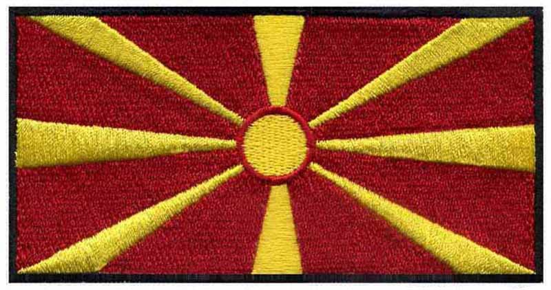 Macedonia Old National Flag Embroidered Patch Macedonian Sew Iron Badge Applique