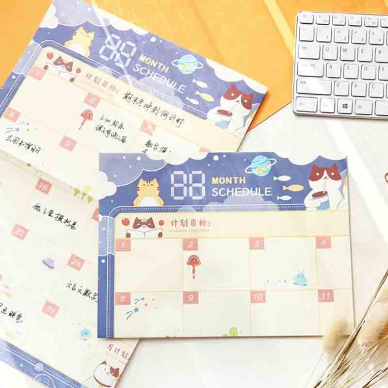 1 Pcs Kawaii Plan Papier 100 Tage Countdown Zeitplan Wand Kalender Täglich Wöchentlich Monate Planer Ziele Organizer Für Arbeit