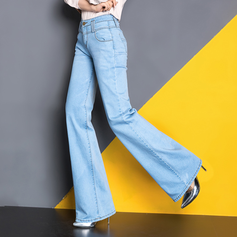 Free Shipping 2017 Women Wide Leg Jeans Ladys Fashion Full Length Big Straight trousers Boot Cut