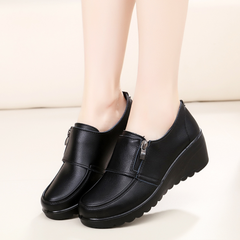 Image 4 - ZZPOHE  Spring Autumn Women's fashion Pumps shoes woman genuine leather wedge single casual shoes mother high heels shoes-in Women's Pumps from Shoes