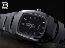 Luxury Brand Switzerland Binger tungsten steel Women's watches  quartz wristwatches beer barrel full steel clock  BG-0394-6
