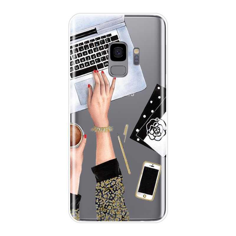 И надписью «Girl Boss» розовый Для женщин чехол для телефона для samsung Galaxy Note 9 8 5 4 Мягкая силиконовая накладка на заднюю панель для samsung S8 S9 плюс S5 S6 S7 край