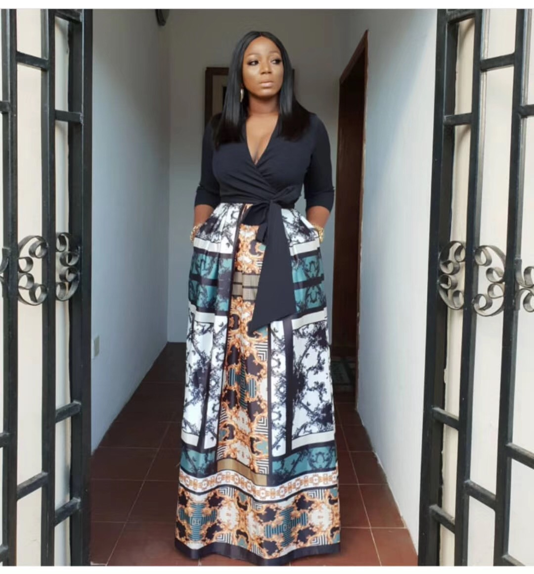 2019 New Arrival Summer Sexy African Women Printing Plus Size Long Dress