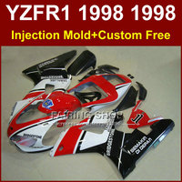 7T6K Low price red white fairings kit for YAMAHA YZF R1 YZF1000 98 99 R1 custom fairing set YZF R1 1998 1999 body parts 7RG