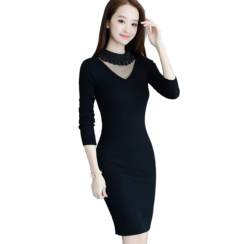 2017 Autumn Winter Women Long Sweater Dresses V-Neck Pullovers Brief Mesh Beading Sweater Dress Warm Knitting Dress YP0585