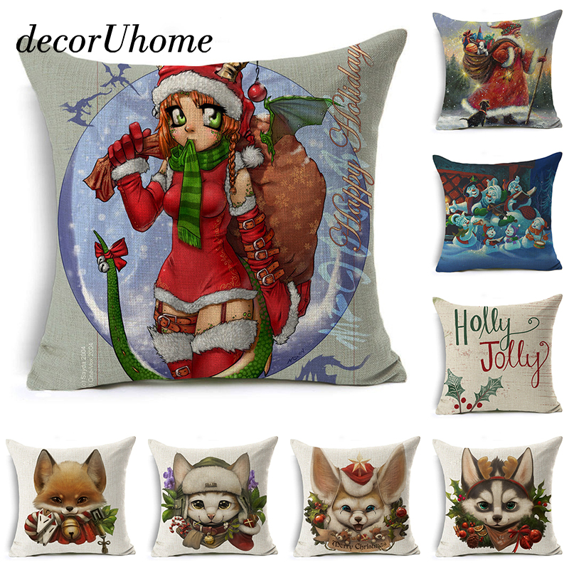 Merry Christmas Pillow Cover Santa Claus Dog Letter Cushion Cover Square Decorative Throw Pillow Case Sofa Home Decor almofadas