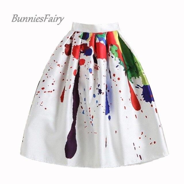 2fd10f6bfe BunniesFairy marca 2018 Primavera Verano nuevas señoras elegante moda  Graffiti impresión alta cintura blanca Falda larga Midi ropa de vacaciones