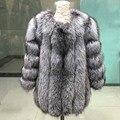 100% Натуральный Silver Fox Меховой Пальто Толстый Теплый Натурального Меха Пальто женская Мода Модные Роскошные Женщины Пальто из Меха натуральный Мех Куртка