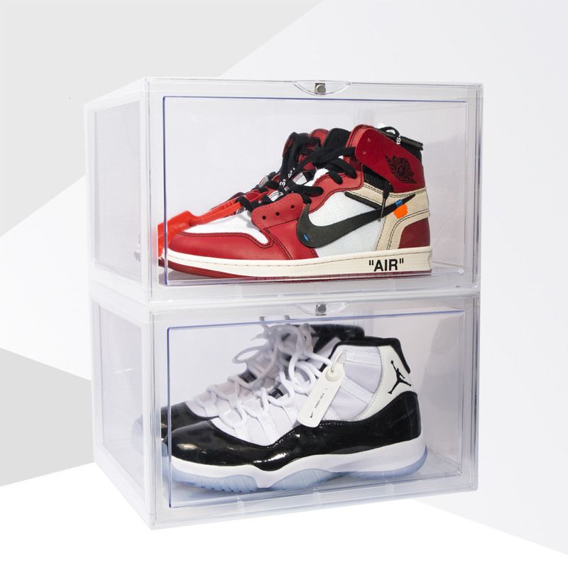 Side Open Magnetic Door Abs Resin Sneakers Storage Box Transparent High State Anti Oxidation Acrylic Dust Collection Shoes Box image