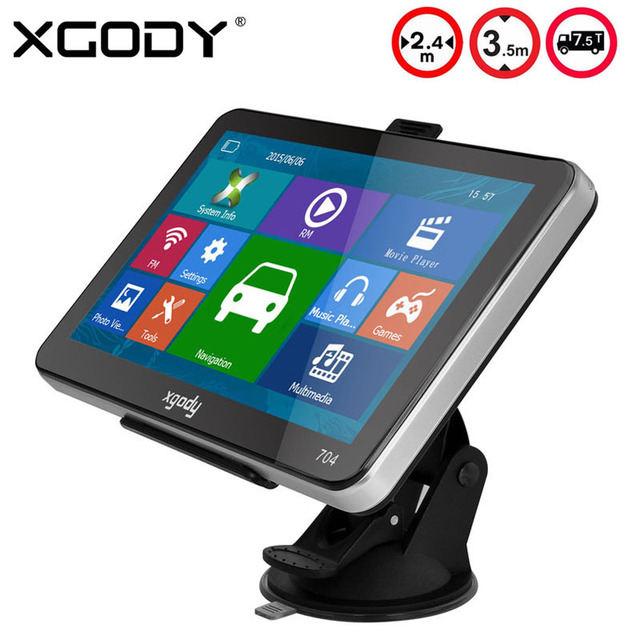 XGODY 704 7 inch Car Truck GPS Navigation 8GB Sat Nav Navigator FM 2016 Europe India Map Navitel Russia Map with Sun Shade