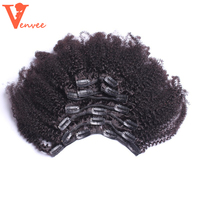 4B 4C Mongolian Afro Kinky Curly Clip Ins Hair 100 Clip In Human Hair Extensions Virgin