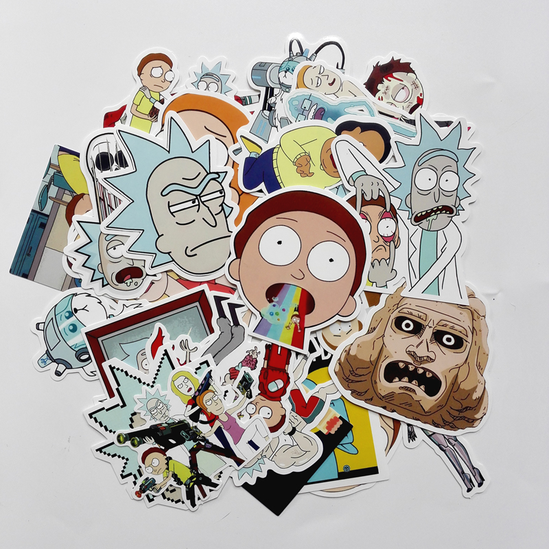 TD ZW 2018 35Pcs/lot American Drama Rick and Morty Stickers Decal For Snowboard Luggage Car Fridge Car- Styling Laptop Stickers