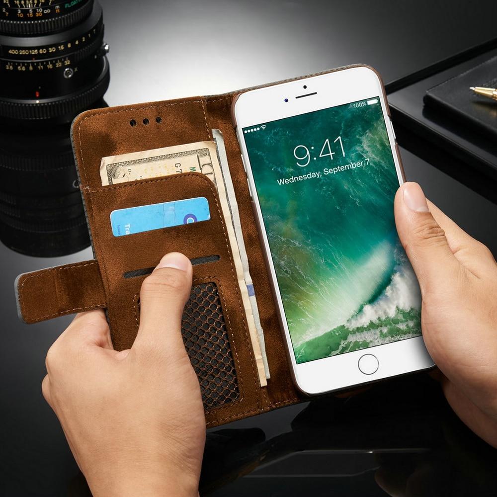 Para iphone 6s case luxo capa completa pontos magnéticos de couro - Peças e acessórios para celular