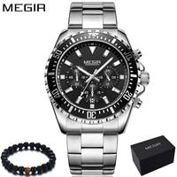 Megir хронограф кварцевые часы для мужчин модные для мужчин s часы лучший бренд класса люкс 24 часа сталь платье спортивные наручные часы Relogio