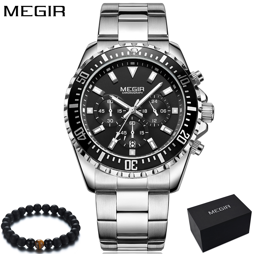 Megir Chronograph Quartz Watch Men Fashion Mens Watches Top Brand Luxury 24 Hour Steel Dress Sport Wrist Watch Relogio Masculino