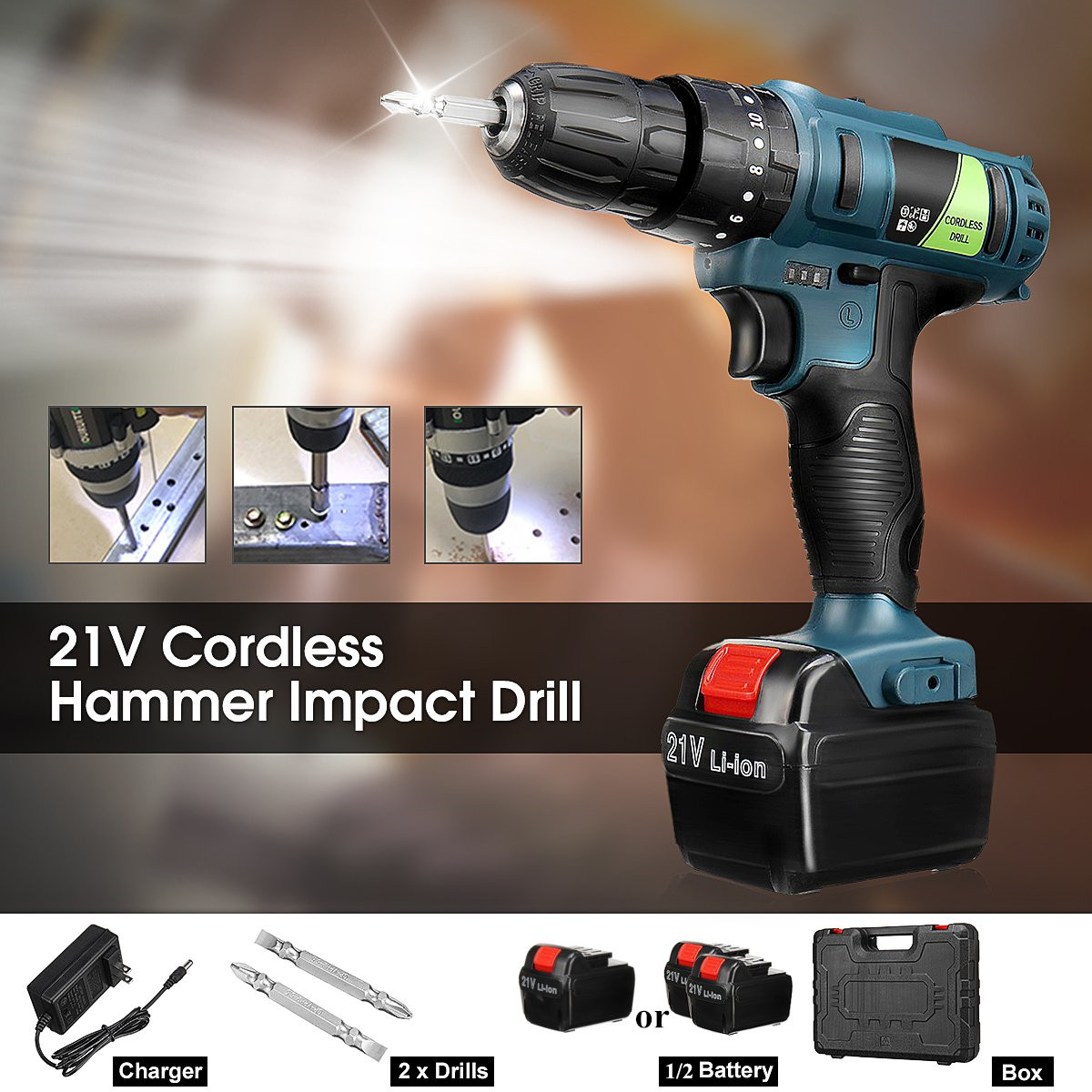 21V Double Speed Impact Drill Electric Hammer Drill Battery Electric Cordless Drill Electric Screwdriver Home DIY Power Tools21V Double Speed Impact Drill Electric Hammer Drill Battery Electric Cordless Drill Electric Screwdriver Home DIY Power Tools