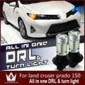 Guang Dian Carro levou luz DRL Daytime Running Light & Frente Sinais de Volta da lâmpada Land Cruiser Prado 150 T20 WY21W 7440 Branco + Amarelo