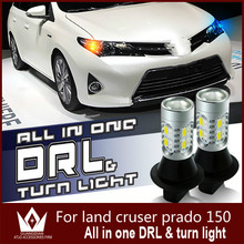 GuangDian Car Led Light DRL Daytime Running Light & Front Turn Signals Lamp For Cruiser Prado 150 T20 WY21W 7440 White+Yellow