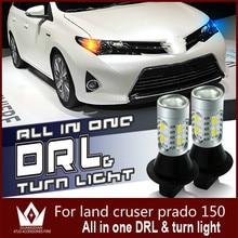 GuangDian Auto Led-Licht DRL Tagfahrlicht und Vordere Blinker Lampe Für Cruiser Prado 150 T20 WY21W 7440 weiß + Gelb