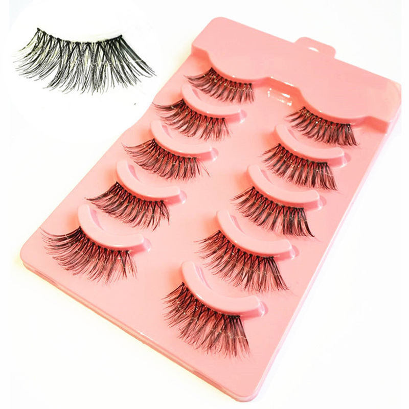 YOKPN Winged Half False Eyelashes Natural Long Messy Eye Lashes Makeup Tools Pure Hand Made Fake Eyelash Red Box 5 Pairs
