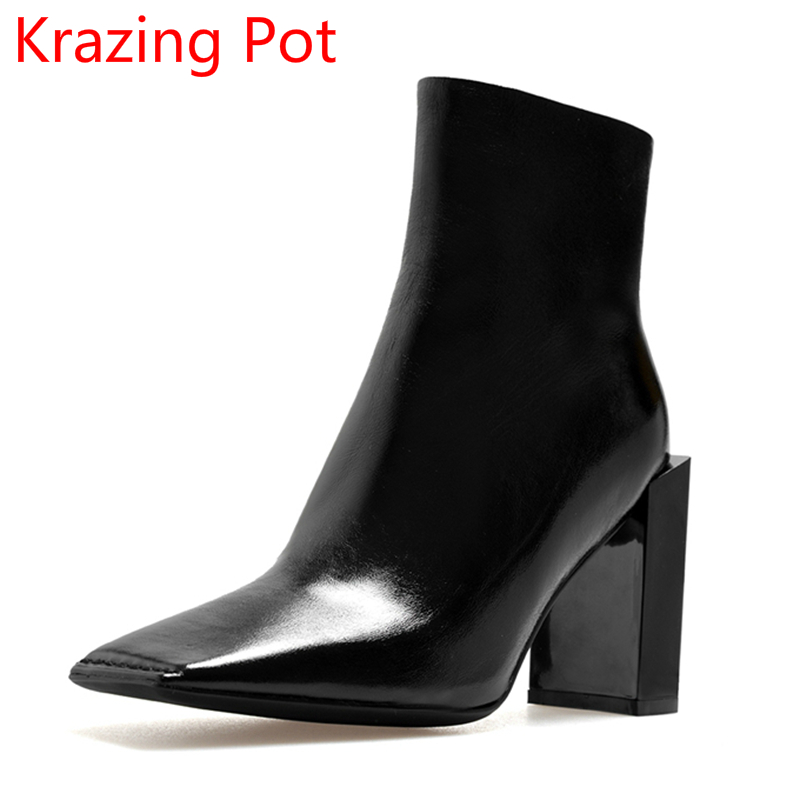 New Arrival Superstar Genuine Leather Square Toe Fashion Boots High Heels Winter Shoes Handmade Zipper Women Mid-Calf Boots L30 genuine leather square toe mid calf boots autumn winter boots warm shoes woman thick high heels shoes for women boots