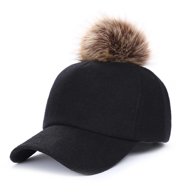 Hip Hop Felt   Baseball     Cap   Women Thick Warm Bone Snapback Hat Female Autumn Winter Fashion Polyester Fur Pom Pom Hats
