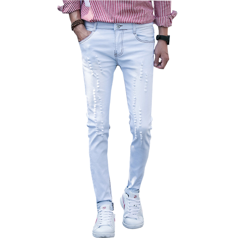 Autumn WInter Rock Jeans For Men Ripped Distressed Jeans Cloths Hip Hop Fashion Sky Blue Men ...