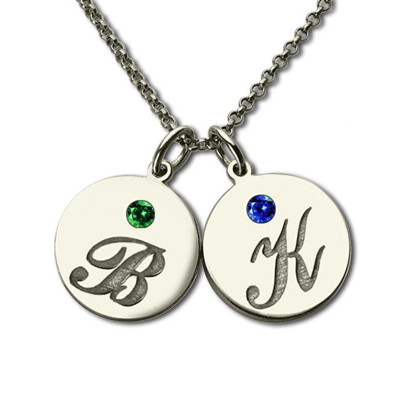 Collier de disque Initial personnalisé avec pierre de naissance argent gravé nom des enfants collier rappeler les mamans enfants plaque signalétique bijoux