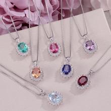 Подвески из натурального драгоценного камня, ожерелье s для женщин, хорошее ювелирное изделие, 925 серебро, цветное овальное ожерелье, покрытое белым золотом, аксессуар CCN013