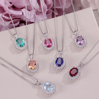 Natural Gemstone Pendants Necklaces For Women Fine Jewelry 925 Silver Colorful Oval Necklace White Gold Plated Accessory CCN013
