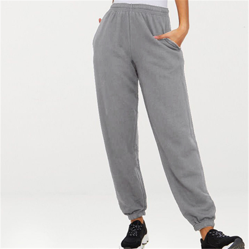 Women Casual Harajuku Spring Autumn Big Size Long Trousers Solid Elastic Waist Polyester Pants Ankle Length Harem Sport Pants