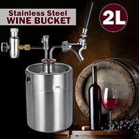 2L Home Wine Beer Brewing Craft Beer Dispenser Growler Beer Keg System Mini Stainless Steel Beer Keg With Faucet Pressurized