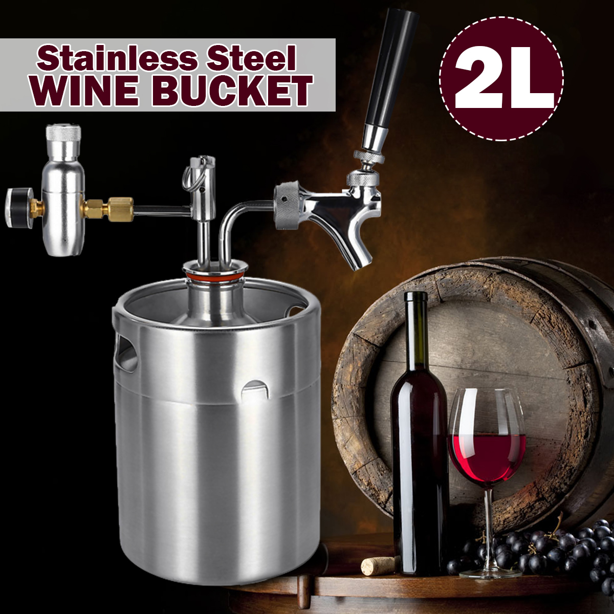 2L Home Wine Beer Brewing Craft Beer Dispenser Growler Beer Keg System Mini Stainless Steel Beer Keg With Faucet Pressurized image