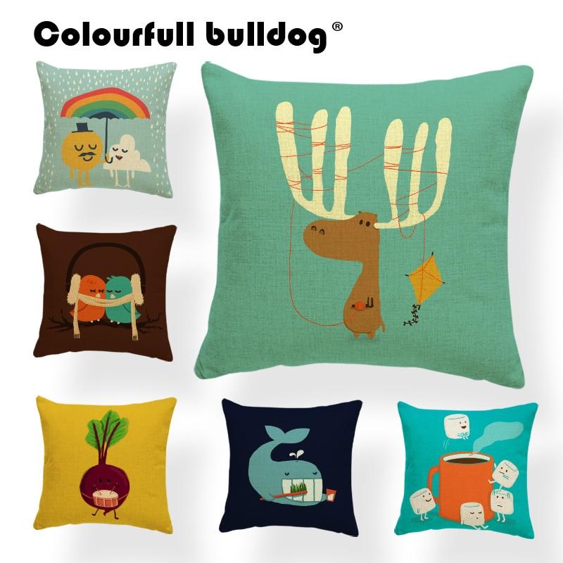 Moose Ing Walrus Cushion Cover Cannonball Pillow Case Cover Vampire Bookcase Home Throw Pillow Cover Rainbow Umbrella 43Cm Linen
