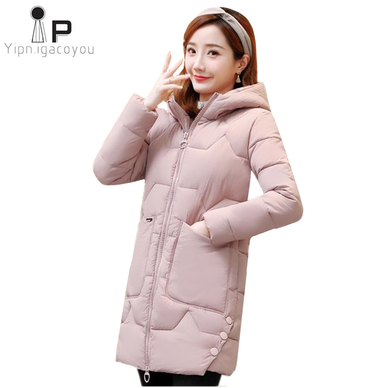 Parka   Women 2019 New Korean Plus Size Slim Long Womens Down Jacket Red Hooded Thicken Fashion Warm Coat Student Ladies Coats 3XL