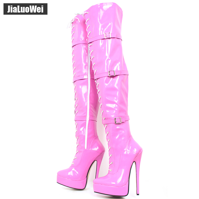 jialuowei 2018 New Sexy 18cm/7 Thin High Heel Women Platform Boots Ladies Lace-Up Fashion Over The Knee Thigh High Boots jialuowei women sexy fashion shoes lace up knee high thin high heel platform thigh high boots pointed stiletto zip leather boots