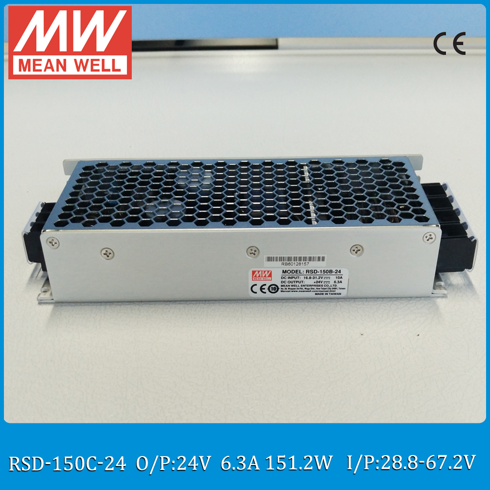 Original MEAN WELL RSD-150C-24 150W 6.3A 24V railway dc dc converter Input 28.8~67.2VDC meanwell dc dc isolated converter ce rohs approved 150w dc to dc converter sd 150c 24 48v to 24v led power supply