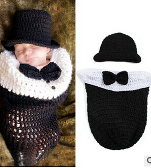 Newborn Baby accessories Photography Prop Knitting Costume Newborn Baby Litte Gentleman sleeping bag Handmade Crochet Clothes