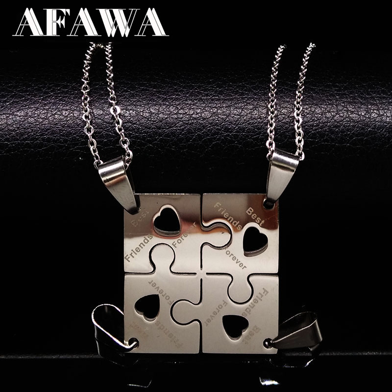 4 Pcs Best Friends Pendant Necklace Women Stainless Steel Neckless Jewelry Silver Color Puzzle Friendship Necklace Gift N412S01(China)