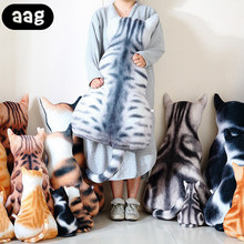 AAG Cute Cat Shape Throw Pillow Cushion Soft Plush Cotton Home Office Bedroom Living Room Bed Waist Back support Sleep pillow набор из 2 х постеров дом корлеоне коллаж fashion 22 50х70 см 2 шт