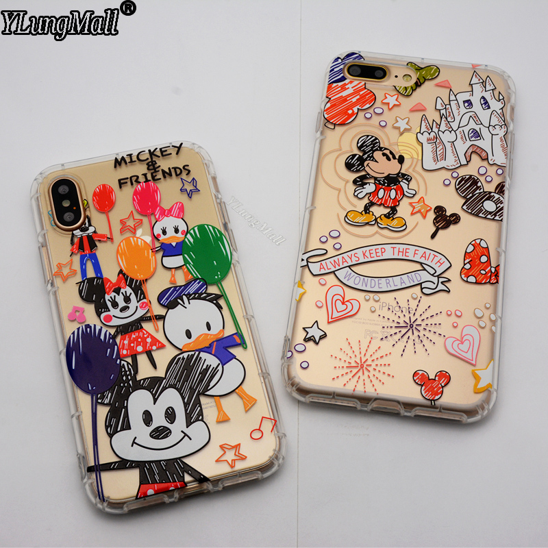 YLungMall Protector TPU Cover Coque for iPhone 6 6s Plus Case Soft Clear Relief Mickey Minnie Mouse Funda iPhone X 7 8 Plus Case