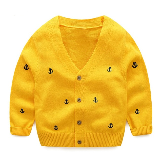 LittleSpring New Autumn Boys Clothing Children Boy Knit Sweaters Embroidery Casual Cotton V-neck Cardigans Kids Sweaters Clothes