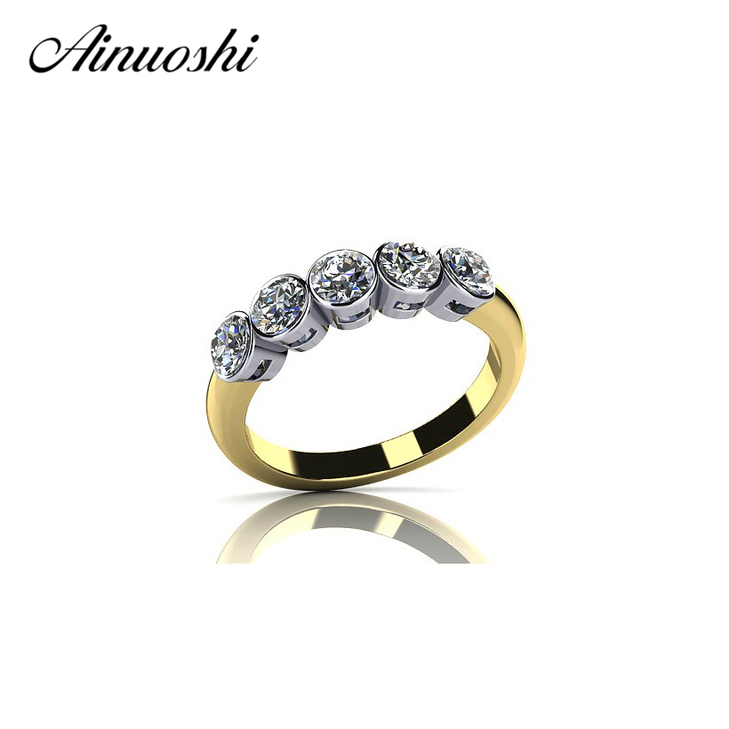 AINUOSHI Round Cut Rings Jewelry Ring Women Bijoux Row Drilling Line 925 Sterling Silver Yellow Gold Color Party Rings Sona Band