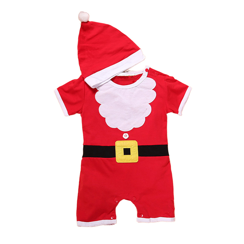 Girls Rompers Jumpsuit Short-Sleeve Christmas Newborn Santa-Claus Infant Baby Boys Cotton