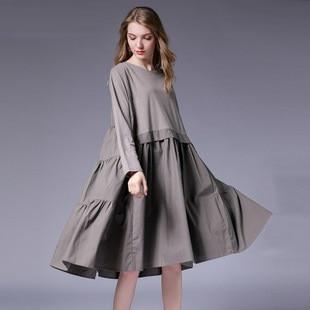 US $36.83 34% OFF|2018 Fall Dress Women Cotton Flare Dress Plus Size Loose  Fit cascading Ruffled big bottom Elegant Dress Casual vestidos XL 4XL-in ...