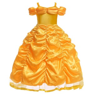 Image 3 - Girls Belle Dress Princess Girl Off Shoulder Fairy Tale Cosplay Halloween Party Dresses Kids Ball Gown Costumes Accessories