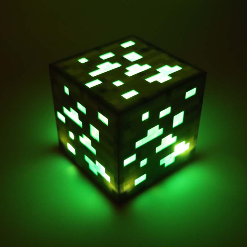 Minecraft Light Up Minecrafted Jouets Greenstone Minerai Carré Minecraft Nuit Lumière LED Figure Jouet Lumière Up Minerai De Diamant Comme Cadeau # E