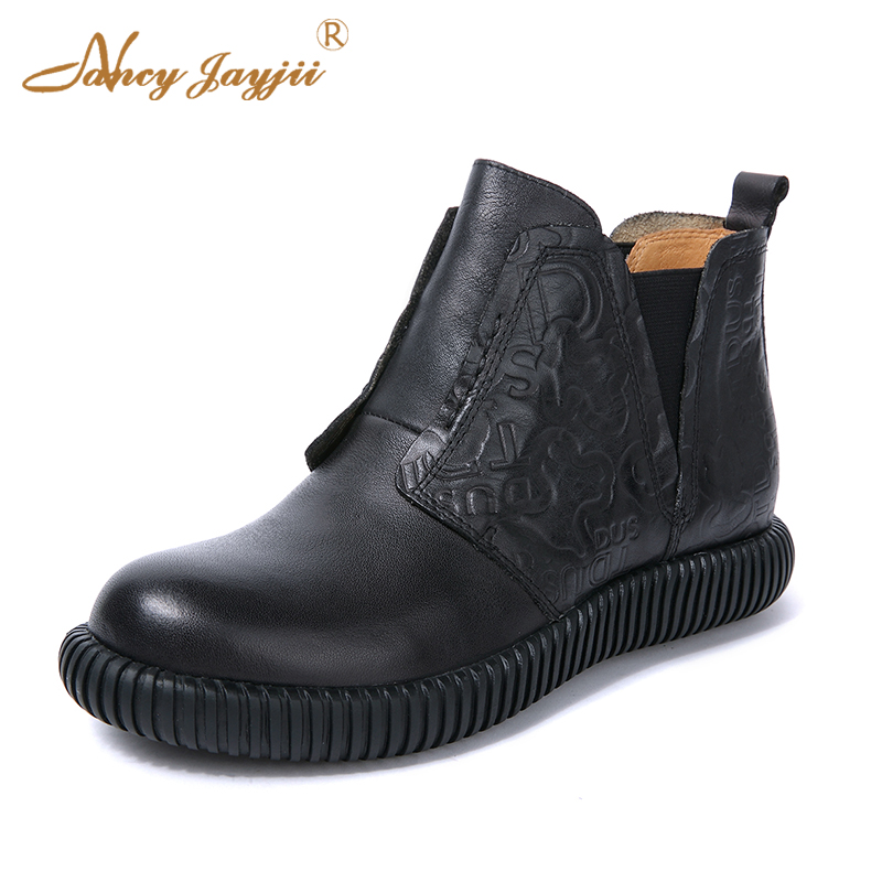 Spring Retro Ethnic Ankle Boots Chelsea Fretwork Genuine Leather Black Round Toe Solid Women Shoes sexy Matin fashion Size 39 38 new arrival superstar genuine leather chelsea boots women round toe solid thick heel runway model nude zipper mid calf boots l63